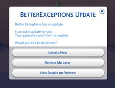 """"""" Better Exceptions: In-game Error Alerts and Analysis for The Sims 4 The Community modder TwistedMexi has released a new mod that will make troubleshooting The Sims 4 for error more. Sims 4 Game Mods, Sims Mods, Sims 4 Nails, Remind Me Later, Play Sims 4, New Mods, Sims 4 Custom Content, Sims Cc, Ts4 Cc"""
