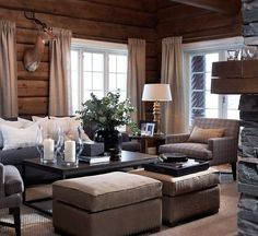 89 Excellent and Cozy Cabin Style Decoration Ideas - Homearchitectur Rustic House, House Interior, Cozy House, Cottage Inspiration, Living Room White, Trendy Living Rooms, White Rooms, Cabin Decor, Cabin Living