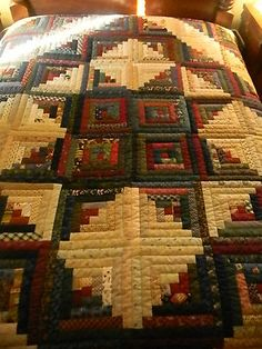 Lancaster County Amish Handmade King Log Cabin Quilt 173 !! Para Eliana Erninatti!!                                                                                                                                                                                 Más