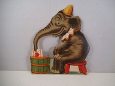 Charles Twelvetrees: Vintage Valentine Card Valentine's Day Germany Circus Elephant Stand-up