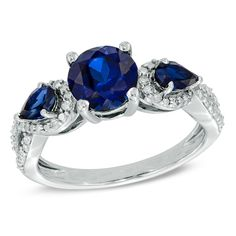Zales Lab-Created Blue and White Sapphire Twist Ring in Sterling Silver - Size 7 kK0fN