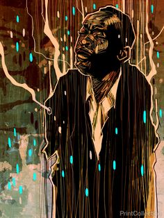 """""""Thief at the Crossroads"""" is a set of 20 portraits of legendary blues musicians by John Jennings. The set of digital mixed media images is inspired by artist John Akomfrah's 1996 film """"The Last Angel"""