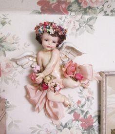cherub wall plaque angel figurine nursery decor baby shower decoration