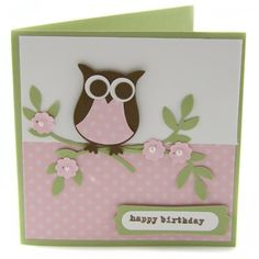 Handmade Owl Birthday Card
