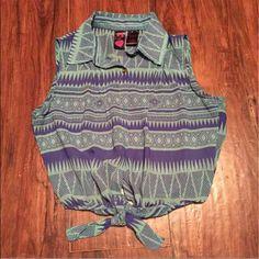 Tillys Blue Aztec crop top tie vest Worn once!  Perfect condition! Tops Crop Tops