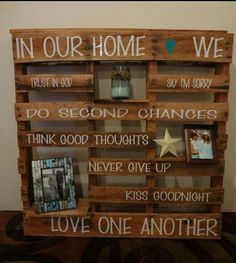 Lovely wall pallet with encouraging words and photos