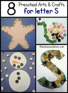 Letter S crafts for preschool - nice variety of process art and traditional crafts