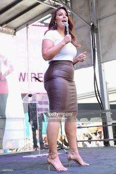 Model Ashley Graham speaks onstage during the Lane Bryant launch of the #PlusIsEqual campaign at Times Square on September 14, 2015 in New York City.
