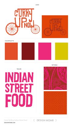 Brand Board: Curry Up Now Indian Street Food Food Branding, Food Packaging Design, Restaurant Branding, Logo Food, Identity Branding, Corporate Identity, Corporate Design, Visual Identity, Web Design Chicago