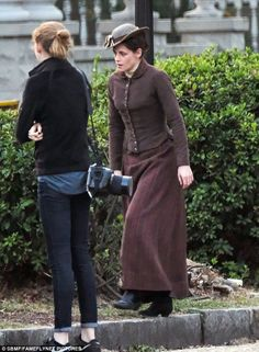 Hard at work: Kristen Stewart was spotted on Wednesday filming a Lizzie Borden biopic in p...
