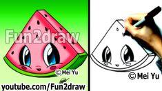 Kawaii Food - How to Draw Food - Watermelon - Popular Cartoon Drawing Vi. Easy Cartoon Drawings, Cartoon Drawing Tutorial, Kawaii Drawings, Disney Drawings, Drawing Tutorials, Easy Drawings, Easy Sketches, Japanese Drawings, Cartoon Illustrations