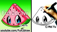 Kawaii Food - How to Draw Food - Watermelon - Popular Cartoon Drawing Vi...