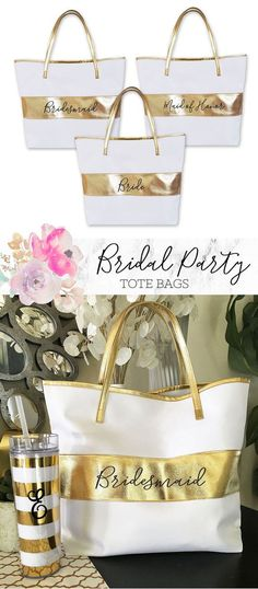 Bridesmaid Tote Bags are a make a pretty package for your bridal party gifts! Perfect for wedding planning outings together - fill them with tumblers, robes, notebooks and more! by Mod Party