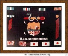 -WW2 Submarine Battle Flag USN Navy USS SPADEFISH SS 411 US Naval