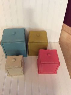 Vintage Painted Wood Canisters | Very VTG Kitchen Wood ~ Painted | Pinterest