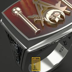 Master Mason And Shriners Ring Special Cut by MuDesignJewelry
