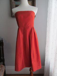 J.CREW 100% Silk Solid Orange Empire Waist Strapless Lined Dress Size 8 #JCrew #EmpireWaist #Cocktail
