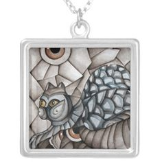 Abstract Blue Cat Necklace by SimonaMereuArt $31.75