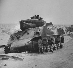 Flipped turret on an M4A3 Sherman knocked out by multiple lateral penetrations during the Suez Crisis in Sinai 1956.