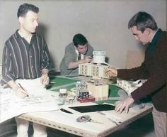 Derek Meddings (left) with colleagues putting finishing touches on Marineville building for Gerry Anderson's STINGRAY TV series.