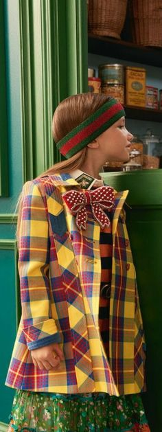 Gucci Girls Yellow Check Coat for Spring Summer 2018.