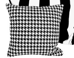 Black and White Decorative Pillows  Ralph Lauren Houndstooth  by PillowThrowDecor,