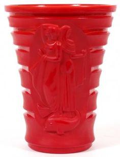 Czechoslovakian Art Deco Red Glass Vase