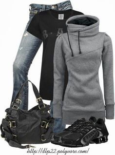 Amazing Gray Hoodie with Black T-Shirt, Jeans, Black Handbag and Sport Shoes