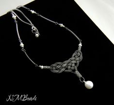 Fine Silver Celtic Knot Choker Necklace With Fresh Water Pearls, Authentic Style, Ethnic Kazaz Work, Timeless, OOAK, Nautical, Pearl Jewelry