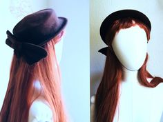 Vintage bow hat women's 40s 50s or victorian girl style top hat PARIS / 50s fascinator, brown bow hat dark brown flat small side hat by SuitcaseInBerlin on Etsy