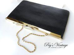 Cabrelli Envelope Clutch//Purse Black by PegsVintageJewellery