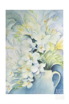Freesia, Aurora and Ballerina in a White Jug Giclee Print by Karen Armitage at Art.com