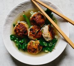 Ground chicken is leaner than other meats, but less fat doesn't mean you have to sacrifice flavor—these meatballs are loaded with aromatics like scallions, ginger and garlic.