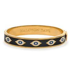 OneSizeFits All Hinged Bangle From Halcyon Days Features The Fun Handpainted quotEvil Eyequot Design In Rich Midnight Blue And Gold Rims Are Gold Ankle Bracelets, Bangles, Gold Bracelets, Gold Bracelet Indian, Halcyon Days, Evil Eye Pendant, Evil Eye Jewelry, Sea Glass Jewelry, Cartier Love Bracelet