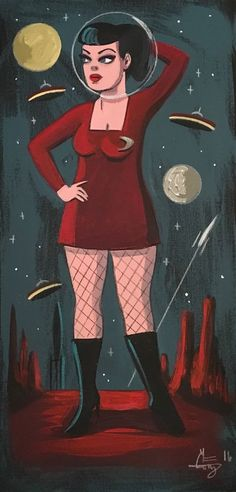El Gato Gomez Painting Retro Martian Pinup Girl Flying Saucer Outer Space Sci Fi | eBay