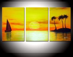 Handmade 3 Piece Set Yellow Sky Sea Palm Coconut Island Sailboat Oil Painting Canvas Landscape Picture Wall Art Home Decoration 3 Piece Canvas Art, Mini Canvas Art, Sailboat Art, Sunset Canvas, Landscape Pictures, Oil Painting On Canvas, 3 Piece Painting, Oil Paintings, Acrylic Art