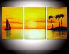 Handmade 3 Piece Set Yellow Sky Sea Palm Coconut Island Sailboat Oil Painting Canvas Landscape Picture Wall Art Home Decoration 3 Piece Canvas Art, Mini Canvas Art, 3 Piece Painting, Acrylic Art, Acrylic Painting Canvas, Sailboat Art, Sunset Canvas, Landscape Pictures, Picture Wall