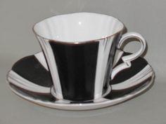 ROYAL-ALBERT-Black-White-Stripes-9378-Art-Deco-CUP-SAUCER-SET