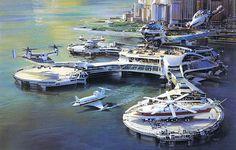 Air and sea port, courtesy of a futuristic past