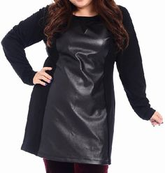 Stylish Scoop Neck Long Sleeve Spliced Plus Size Leather Dress For Women Plus Size Girls, Plus Size Women, Sammy Dress, Wholesale Clothing, Dress To Impress, Plus Size Outfits, Plus Size Fashion, Scoop Neck, Curvy