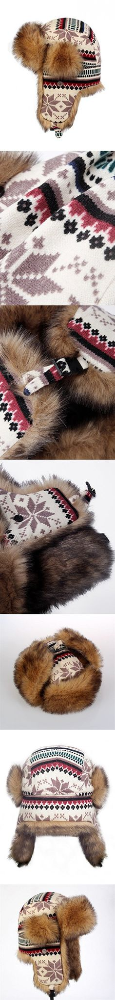 LITHER Knitted Russian Women Winter Bomber Trapper Hat with Faux Fur Lining Hat