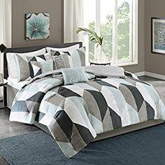 Amazon.com: Ashbourne 7 Piece Comforter Set Dark Teal Queen: Home & Kitchen