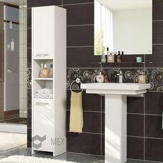 Details About Modern 170cm Tall Bathroom Storage, Cabinet, Matt Finish, 2  Doors U0026 1 Shelf