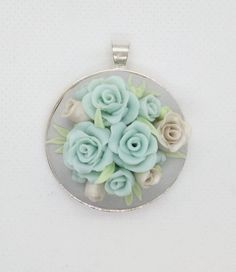 Polymer Clay Roses- shades of pastel blue and pearl white romantic necklace by NadoandLola on Etsy