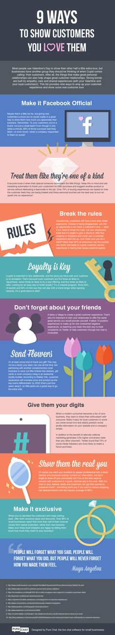 9 Ways To Show Customers You Love Them #Infographic ~ Visualistan