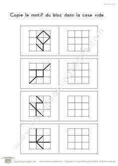 Dans les fiches de travail « Motifs bloc 3x3 » l'élève doit copier le design de la ligne du bloc dans la case vide.