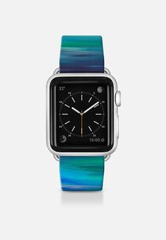"Get $10 off using code: 5K7VFT ""Irradiated - Blue"" By Artist Julia Di Sano, Ebi Emporium on #Casetify Turquoise Teal Blue Green Girly Chic Abstract Ocean Sea Coastal Modern Cool Abstract Fine Art Stripes Pattern Colorful Fun Design Apple Watch Band (38mm or 42mm) by Ebi Emporium 