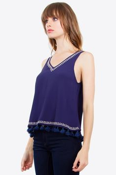 Tassle Boho Tank available now!  #fashion #style #clothes #apparel #tank #tanktop #shirt #top #model #tassels #boho #bohochic #bohemian #bohemianstyle #bohostyle #hippie #hippiestyle #70sStyle #70style