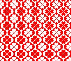 Moroccan Hearts Tile fabric by stradling_designs on Spoonflower - custom fabric. Moroccan Hearts Tile is a contrasting Red and White pattern using a Moroccan tile with a 4 leaf clover of hearts in the center of each tile.