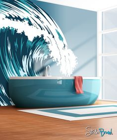 Ocean Wave Mural, Graphic Crashing Surf, 30 Modern Bathroom Decor Ideas, Blue Bathroom Colors and Nautical Decor Themes Blue Bathroom Decor, Nautical Bathrooms, Bathroom Colors, Bathroom Mural, Bathroom Ideas, Bathroom Wallpaper, Design Bathroom, Ocean Bathroom, Bathroom Bath